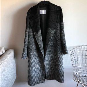 Max Mara Black Gray Gradient Print Coat